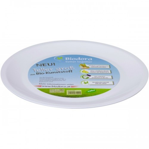 Large flat plate made of bioplatics | Biodora