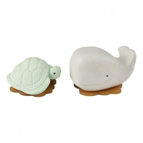 Hevea Squeeze'N'Splash upcycled Bath Toys Whale & Turtle, Frosty White & Sage