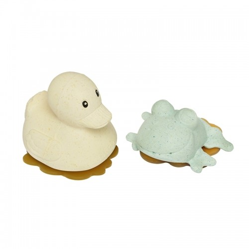 Hevea Squeeze'N'Splash upcycled Bath Toys Duck & Frog