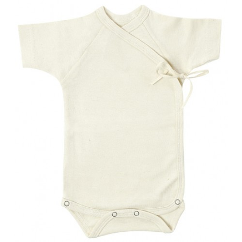 Wrap Bodysuit of Organic Cotton, short-sleeved | Lotties
