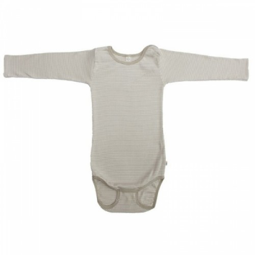 Popolini Bodysuit long-sleeved GOTS sandy-striped