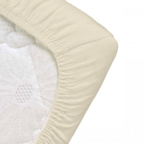 Eco baby fitted sheet for child's bed ecru