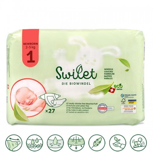 Swilet Organic Nappies size 1 Newborn 2-5Kg