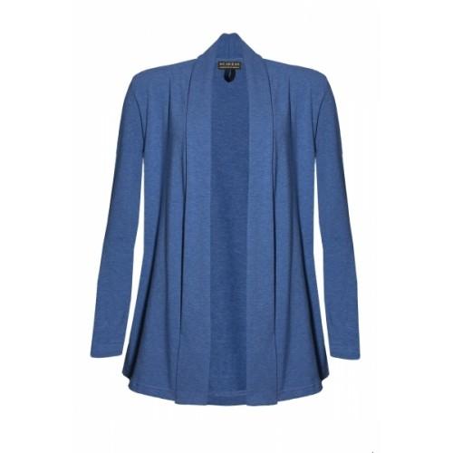 Shawl Collar Cardigan Denim Blue mottled Eco Jersey | billbillundbill