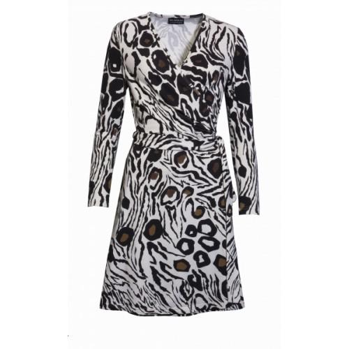 Organic Cotton Wrap Dress Leopard Print - bill
