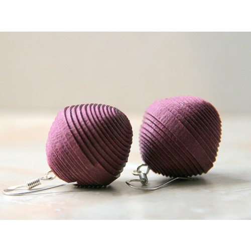 Earrings Purple made of Eco Paper