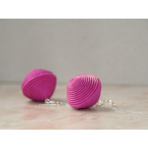 Earrings Pink made of Eco Paper