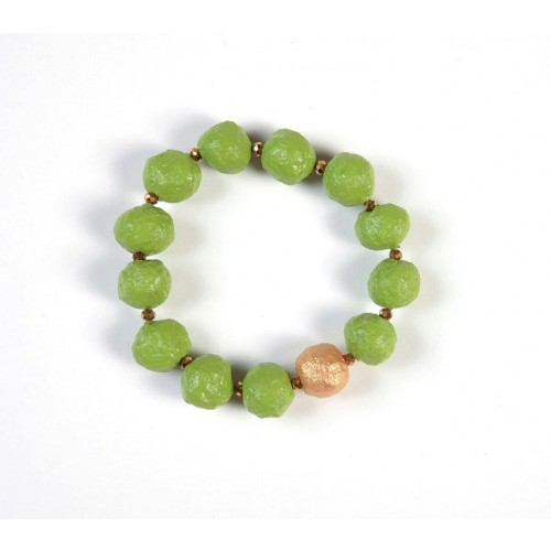 Bracelet Green with Gold Bead – Eco Paper