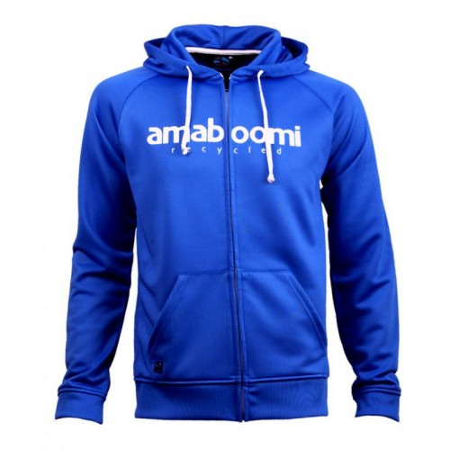 Men Zipped Hoodie BEARDMORE 100% Recycled Blue