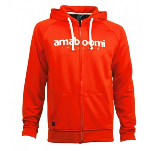 Men Zipped Hoodie BEARDMORE 100% Recycled Red