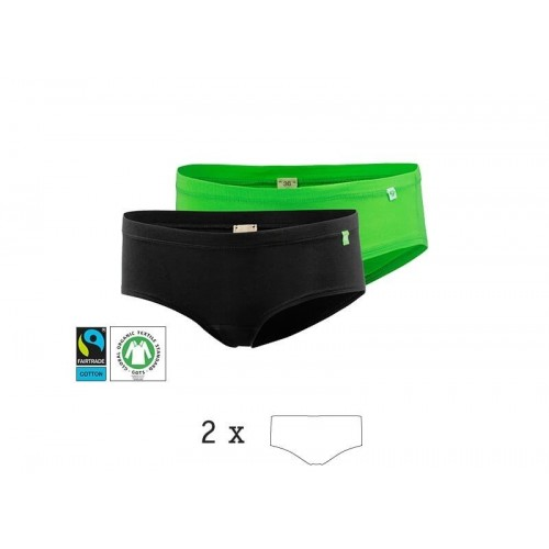HipHopster Hipster Brief, 2 pack, organic cotton green or black | kleiderhelden
