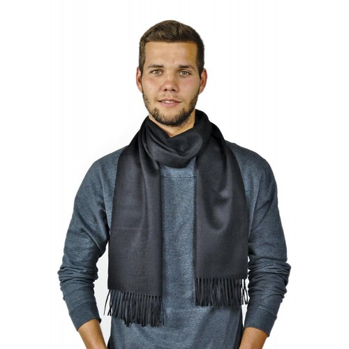 Alpaca Men Scarf Moscow black | AlpacaOne