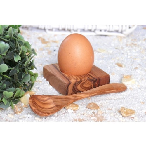 "Egg Holder ""Troué"" & Spoon made of Olive Wood 