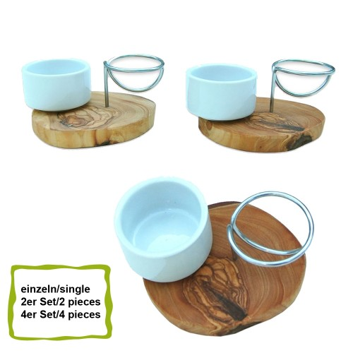 Eco Eggcup LA SPECIA porcelain, stainless steel & olive wood | D.O.M.