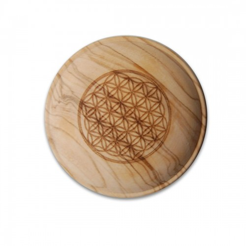 "Spare Lid for Carafes of Olive Wood - engraving ""Flower of Life"" 