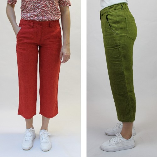 7/8 Linen Trousers, elastic waistband, stylish colours | bloomers