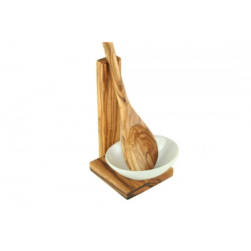 Spoon Holder of olive wood with Cooking Spoon & Porcelain Bowl