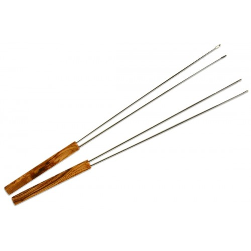 Olive Wood Handle Stainless Steel Double Prong Skewers | D.O.M.