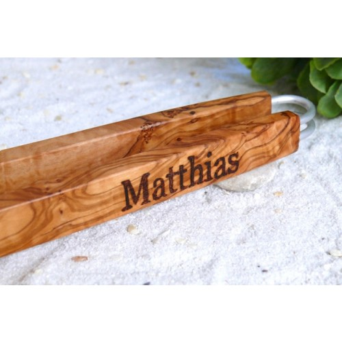 Olive Wood BBQ tongs design with engraving   D.O.M.