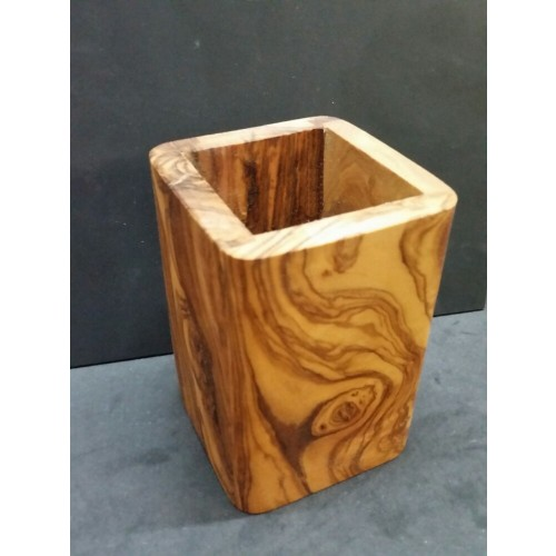Handmade Olive Wood Utensil Holder 12 cm square » D.O.M.