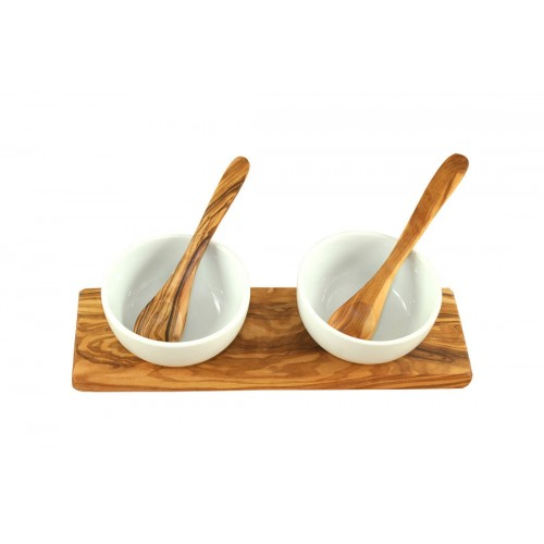 Dipping Bowls Set CLASSIC, porcelain bowls + olive wood tray + sppons