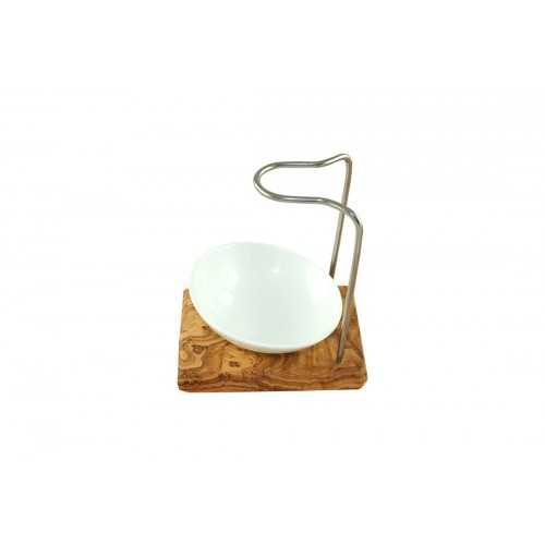 Olive wood shaving brush holder DESIGN PLUS & porcelain shaving bowl, oblique | D.O.M.