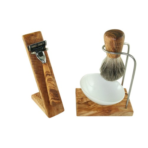 DESIGN PLUS Shaving Set of Olive Wood & Porcelain 5-part | D.O.M.