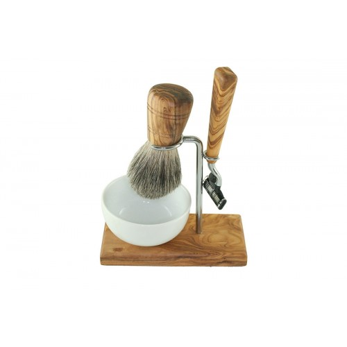 Olive Wood Shaving Kit CLASSIC - Razor & Badger Hair Shaving Brush | D.O.M.