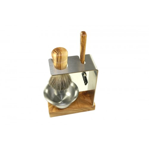Razor Shave Set SYLT, Olive Wood & Stainless Steel 4 piece | D.O.M.