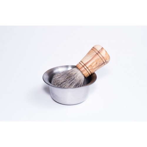 Shaving Brush with badger hair & olive wood handle & stainless steel Shaving Mug | D.O.M.
