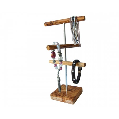 "Jewellery Stand  ""Assisi"" of olive wood & stainless steel bars 