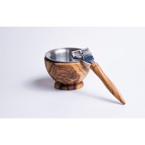 Shaving Mug of Olive Wood & Stainless Steel Shaving Bowl | D.O.M.