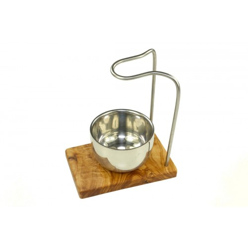 DESIGN plus olive wood shaving brush stand & stainless steel shaving dish | D.O.M.