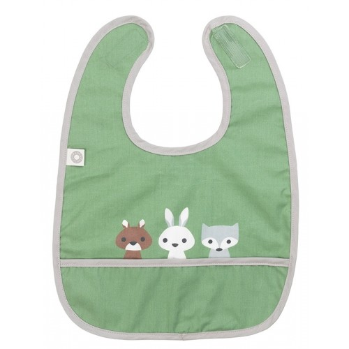 "Bib ""Eat Friends"", green, organic cotton 