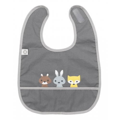 "Bib ""Eat Friends"", dark grey, organic cotton 
