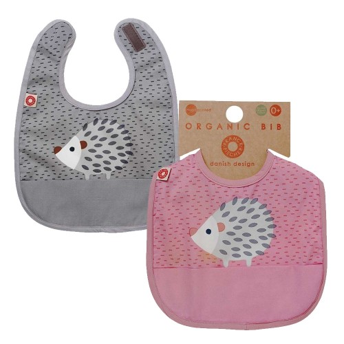"Bib ""Eat"" Hedgehog, organic cotton 