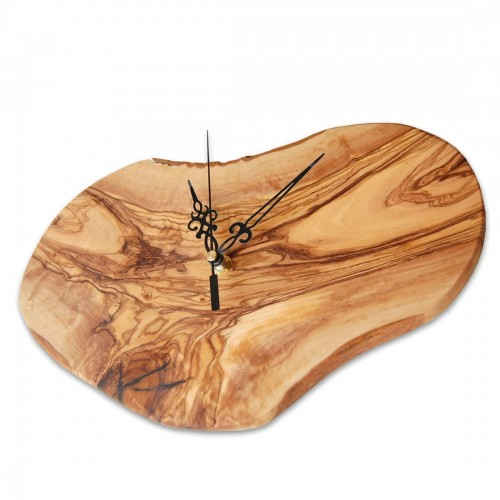 D.O.M. Wall Clock Olive Wood, without digit, black hand
