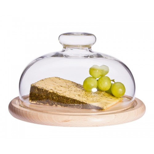 Glass Cheese Dome with Wooden Board