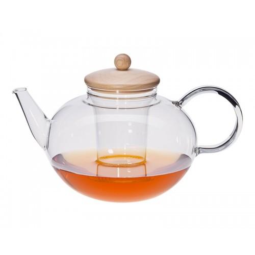 Teekanne MIKO mit Edelstahlfilter, Glassieb, Holzdeckel