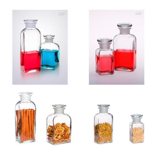 Apothekerflasche eckig klar 0,1 L / 0,25 L / 0,5 L / 0,8 L