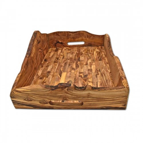 Olive Wood Serving Tray Rustic, 44x30 cm » D.O.M.