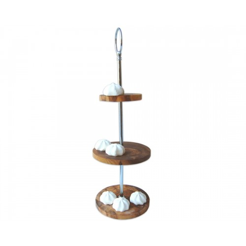 Food Tray Stand of olive wood - cake display | Olivenholz erleben