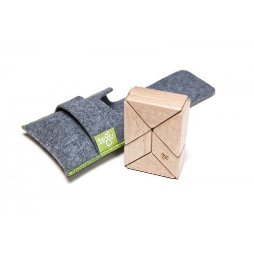 tegu 6 Natural Magnetic Wooden Blocks - Prism Pocket Pouch