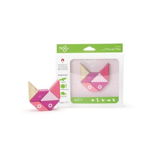 tegu Travel Pals - Kitty Magnetic Wooden Block - eco toys