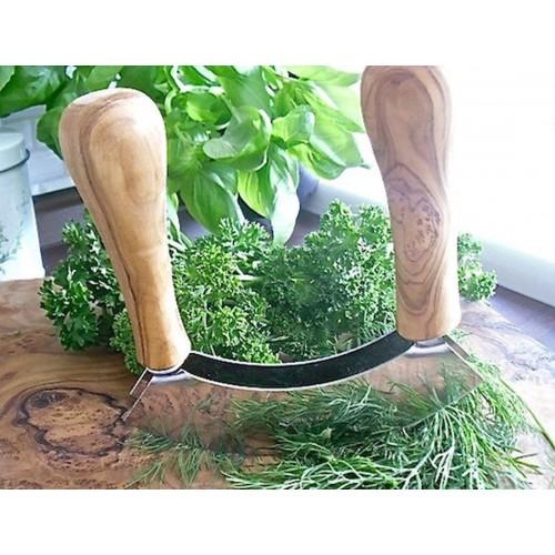 Herb chopper of olive wood bulbous handles | Olivenholz erleben