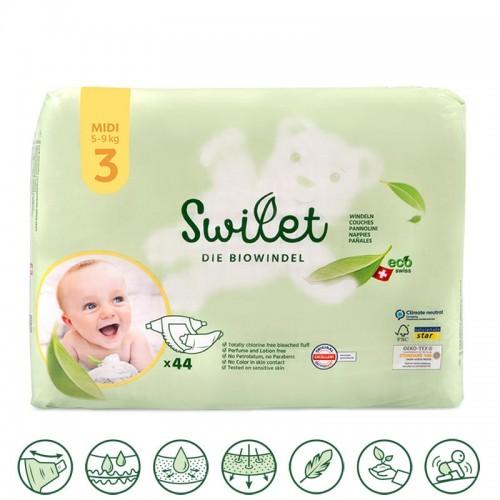 Swilet Organic Nappies size 3 Midi 5-9Kg