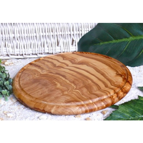 Steak Board of Olive Wood, round, with Juice Rim | D.O.M.