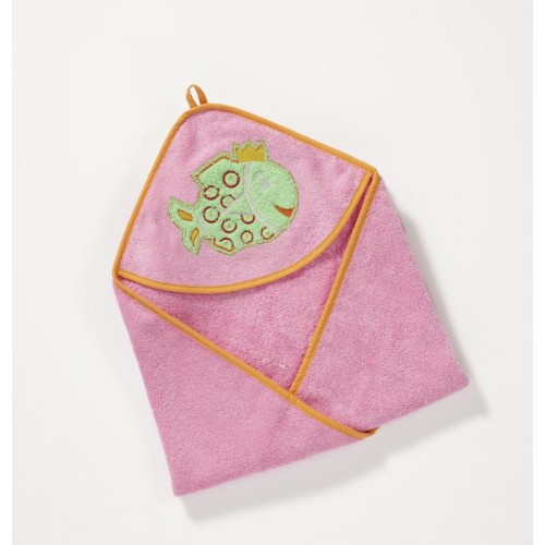 Pink hooded Towel made of Organic Cotton | early fish