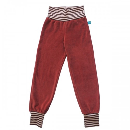 Copper-coloured cosy kids trousers eco cotton, ringed waistband | bingabonga