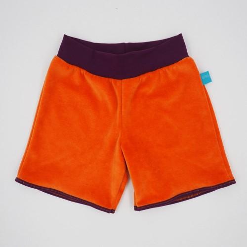 Pull-on shorts eco plush cotton orange & colourful waist » bingabonga